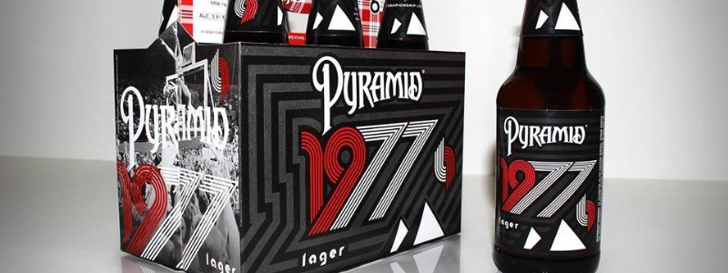 Pyramid Breweries today announced the launch of its 1977 Lager in commemoration of the Portland Trail Blazer's 1977 title run. 1977 is a crisp, bright golden lager with sweet malt notes of bread and toast, and a spicy, herbal hop finish. (PRNewsFoto/Pyramid Breweries)
